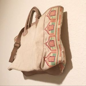 Isabella Fiore canvas Leather Boho Zip Tote!
